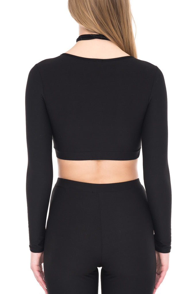 LONG SLEEVE CROP TOP WITH LACE UP NECKLINE - SALE