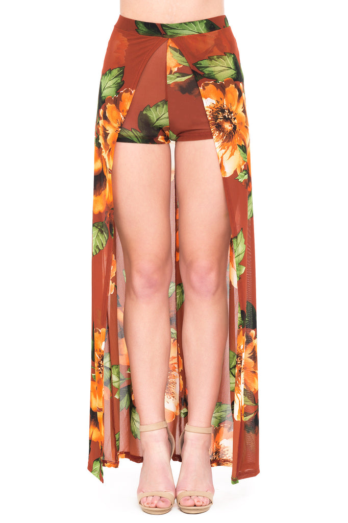 FLORAL MESH OPEN SLIT LONG SKIRT WITH SHORTS