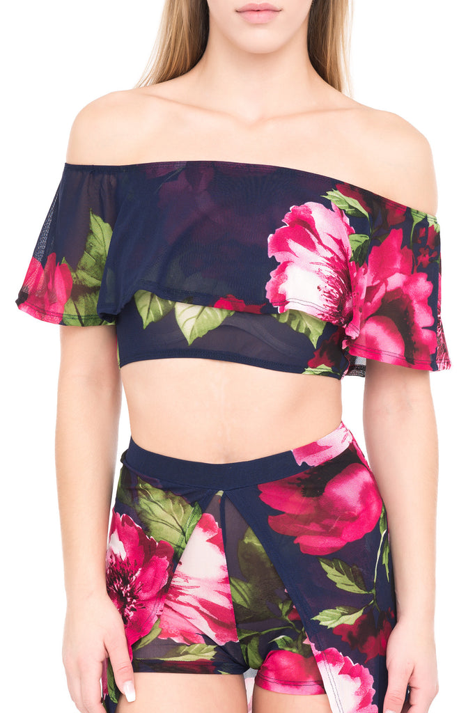 FLORAL MESH OFF THE SHOULDER RUFFLE CROP TOP
