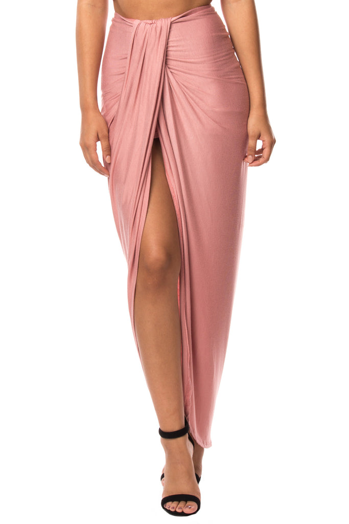 WATERFALL FRONT SLIT MAXI SKIRT