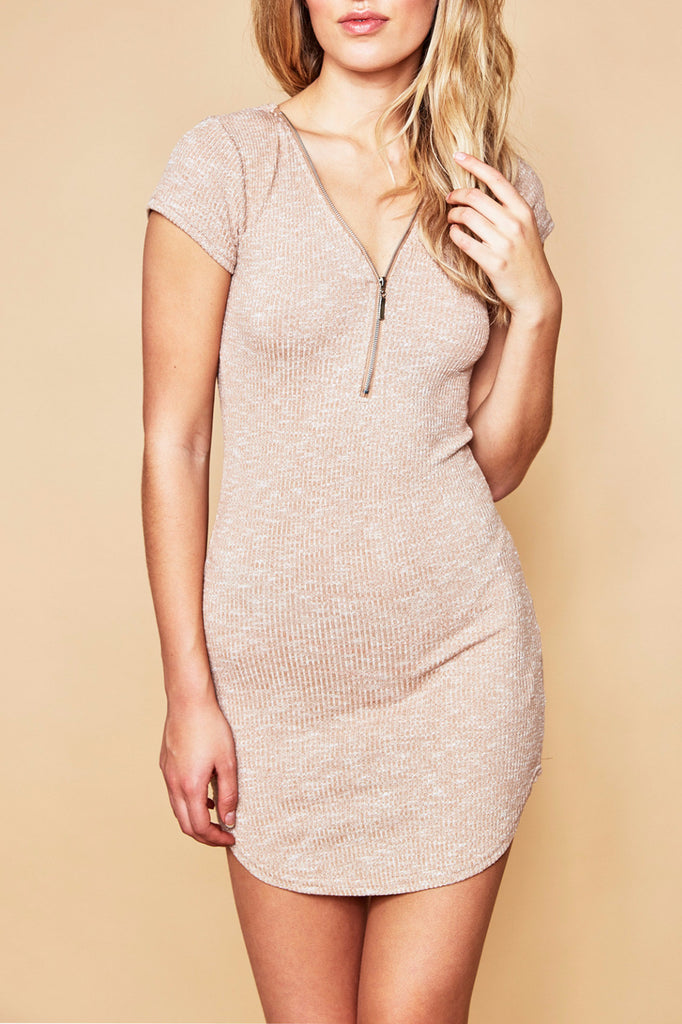 MARLED RIBBED KNIT BODYCON DRESS
