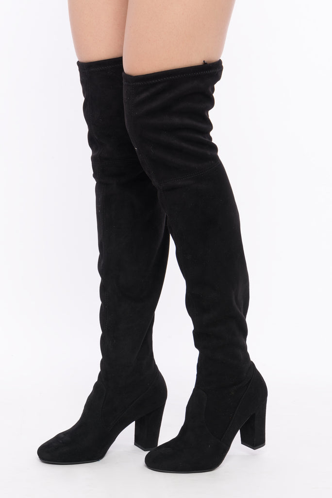 Faux Suede Self-Tie Over The Knee Boots