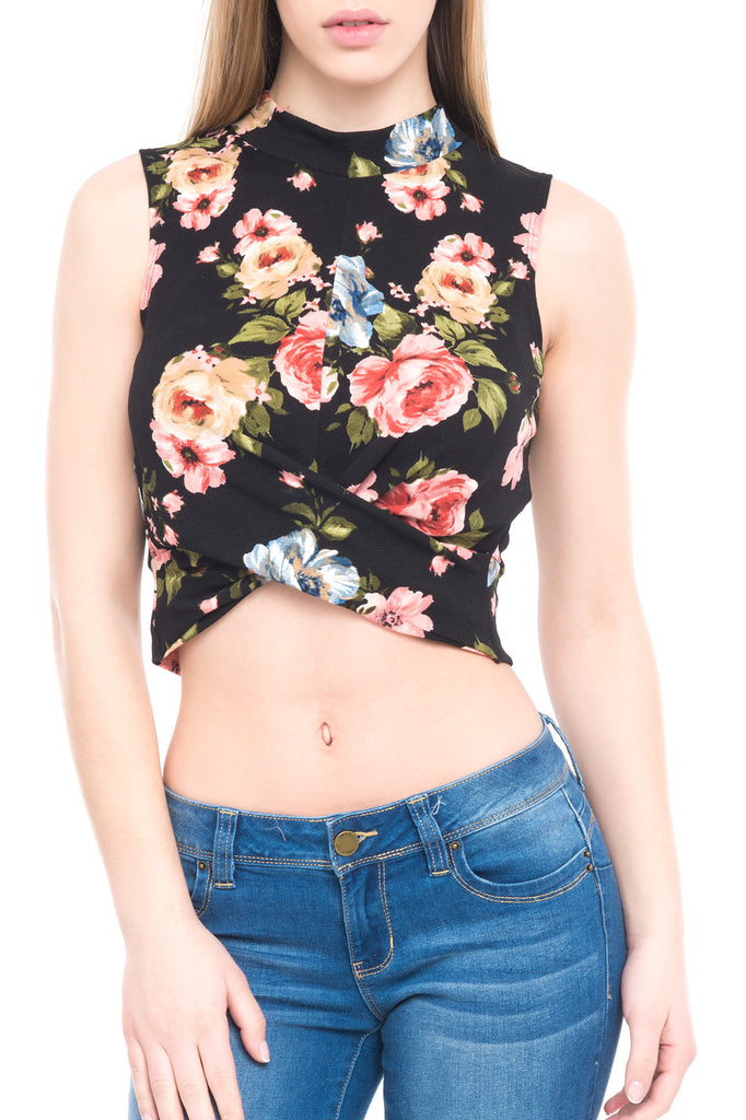 SLEEVELESS FLORAL HIGH NECK TOP