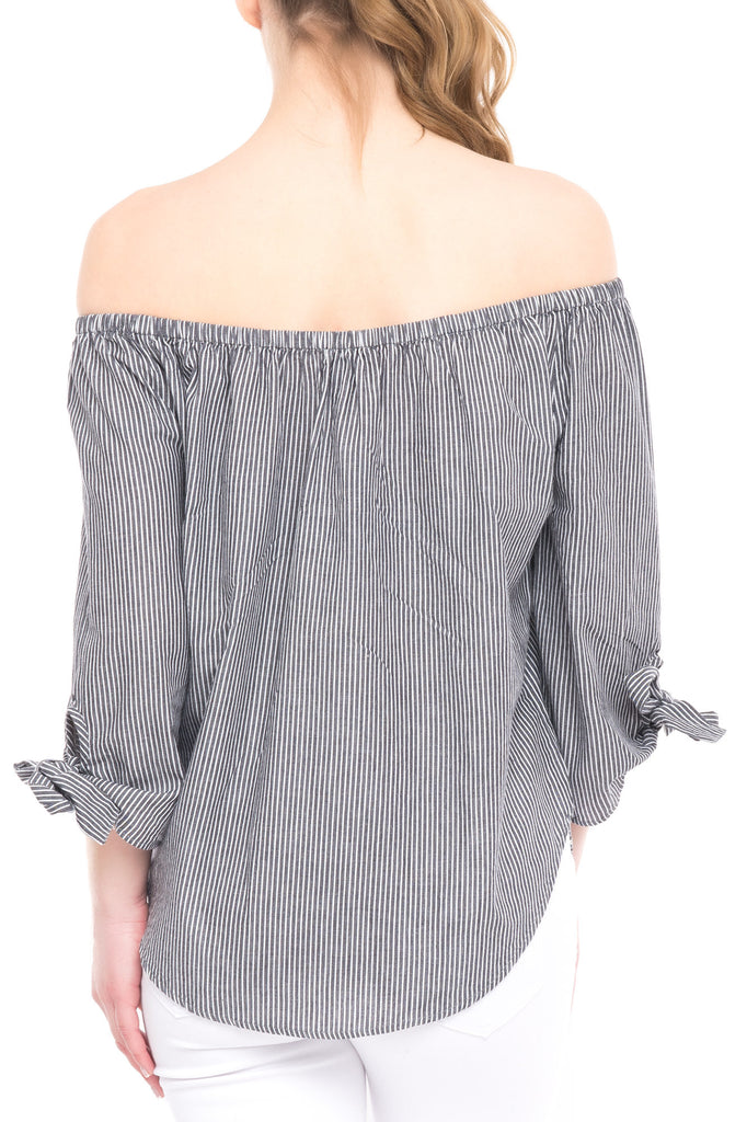 CHAMBRAY OFF THE SHOULDER TOP