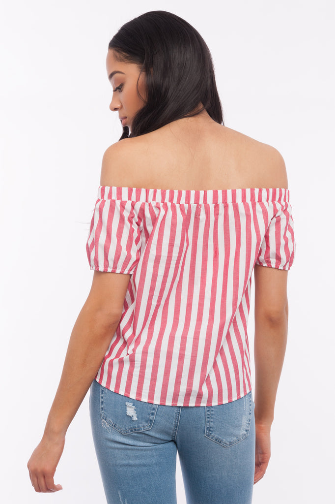 Poplin Stripe Off-The-Shoulder Tie Front Blouse