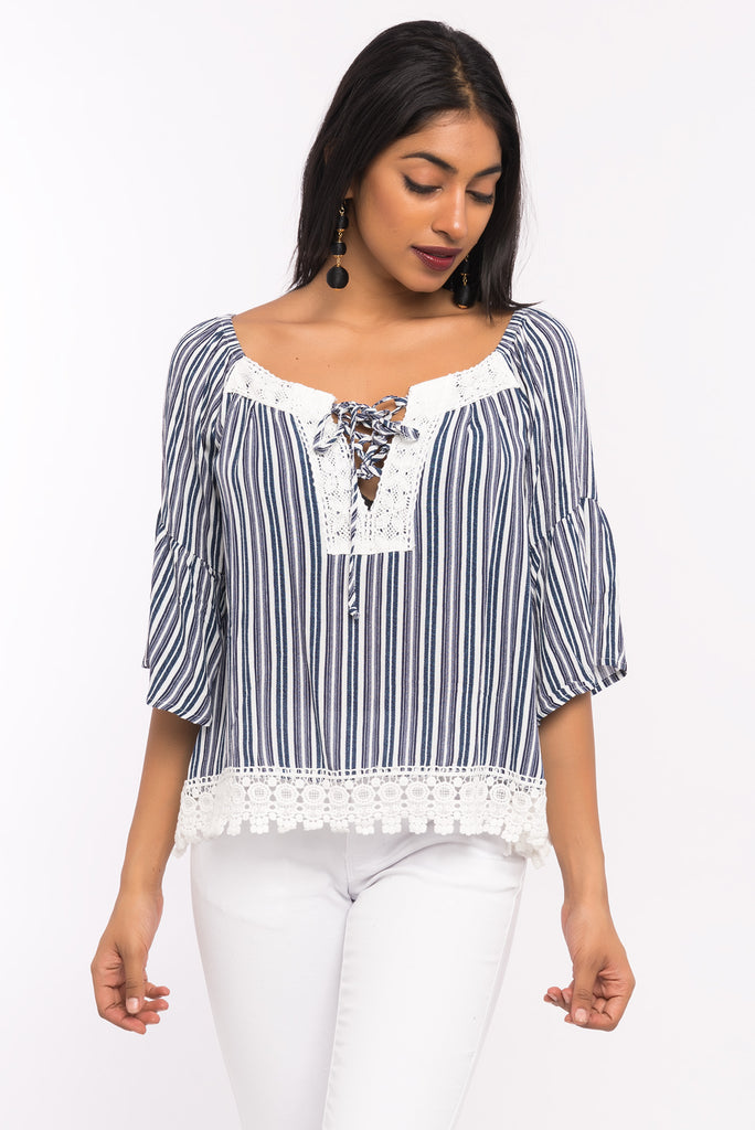 Gauze Flutter Sleeve Off The Shoulder Top