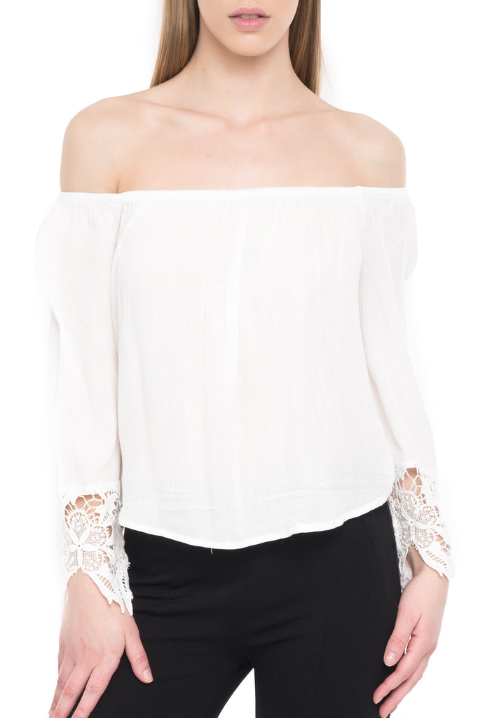 OFF THE SHOULDER TOP WITH CROCHET DETAIL