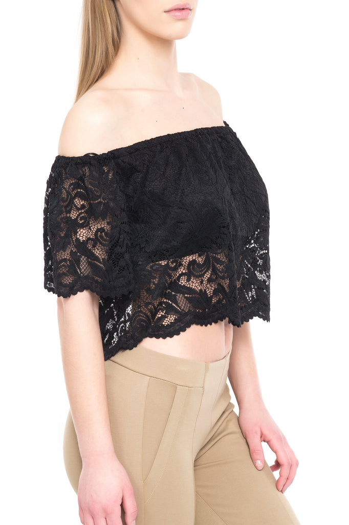 SHORT SLEEVE LACE OFF THE SHOULDER TOP