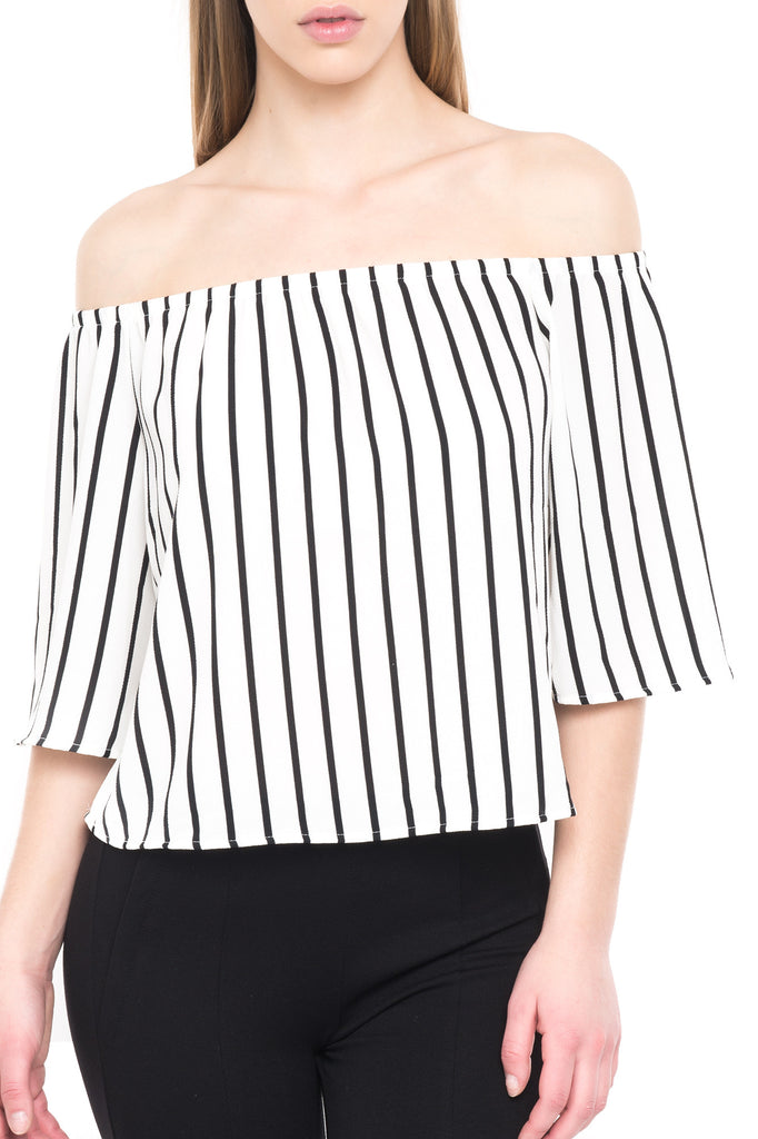 3/4 STRIPE OFF THE SHOULDER TOP