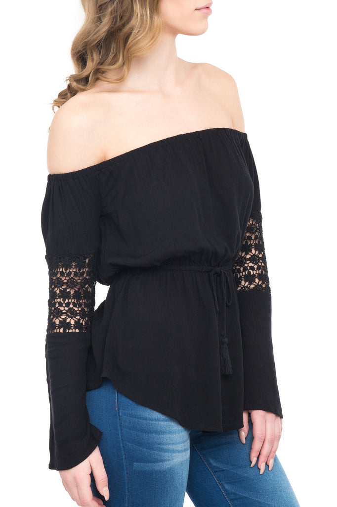 OFF THE SHOULDER BLOUSE WITH LACE SLEEVES