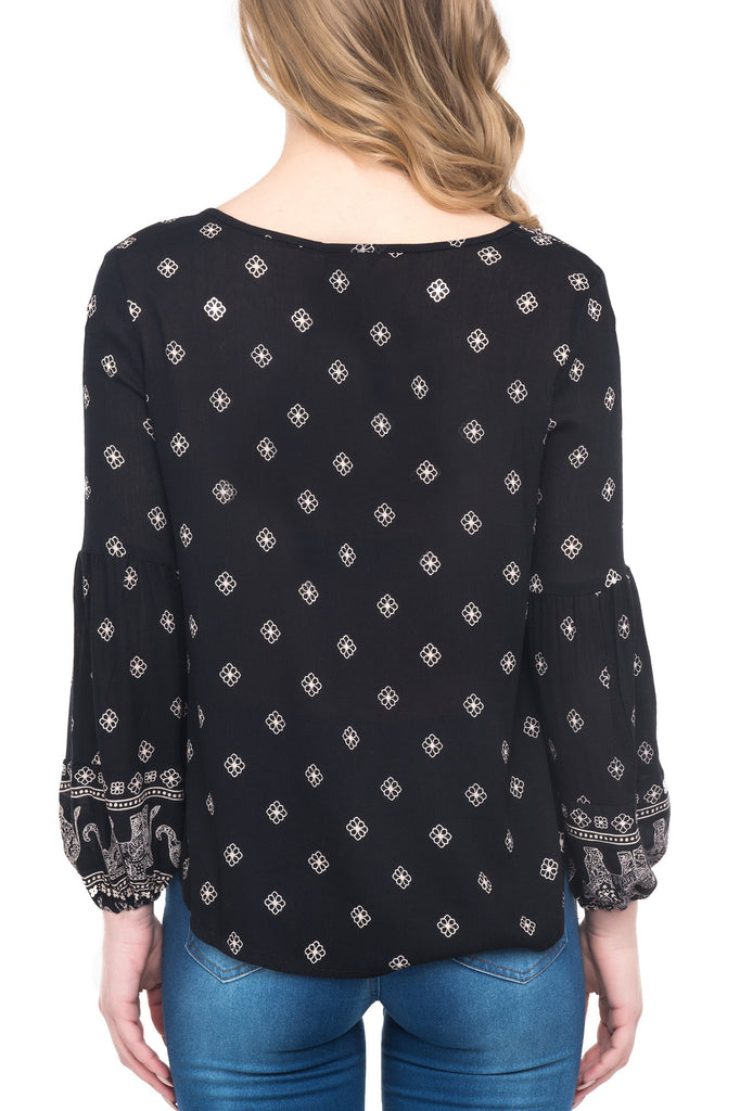 LONG SLEEVE ELEPHANT PRINTED BLOUSE