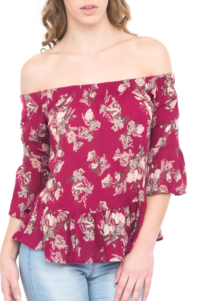 FLORAL FLARED SLEEVE OFF THE SHOULDER TOP