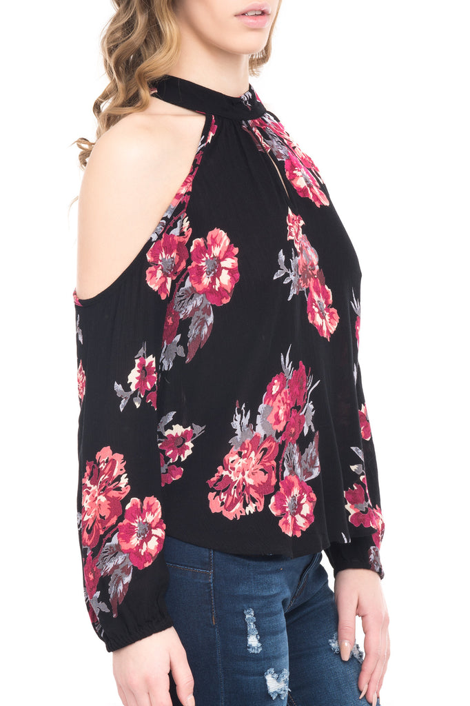 HIGH NECK KEYHOLE FLORAL BLOUSE WITH LONG SLEEVES