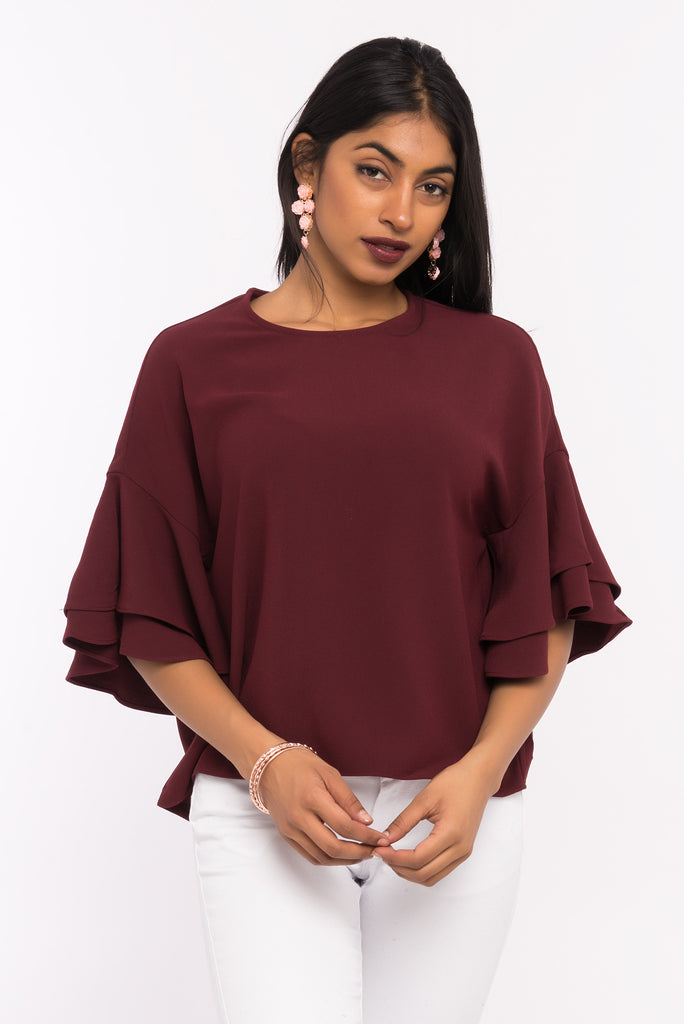 Double Ruffle Bell Sleeve Top