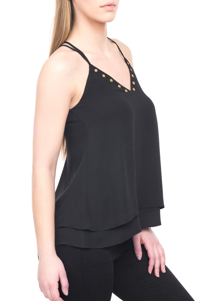 STRAPPY V-NECK BLOUSE WITH GROMMETS