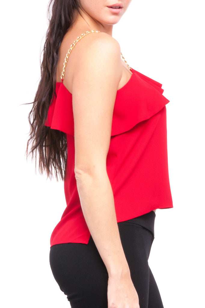 ONE SHOULDER CHAIN TOP