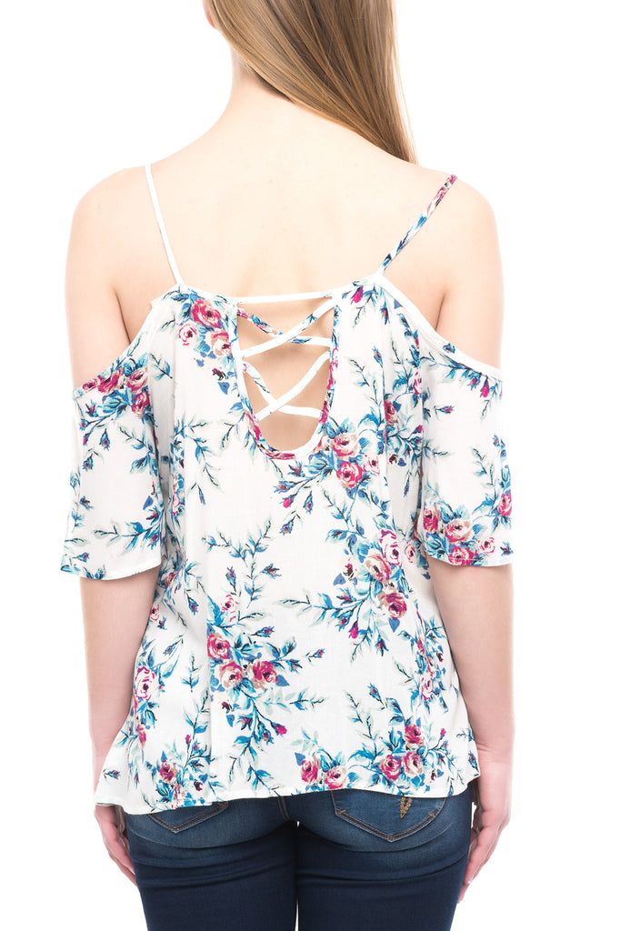 COLD SHOULDER FLORAL TOP WITH LACE UP DETAIL