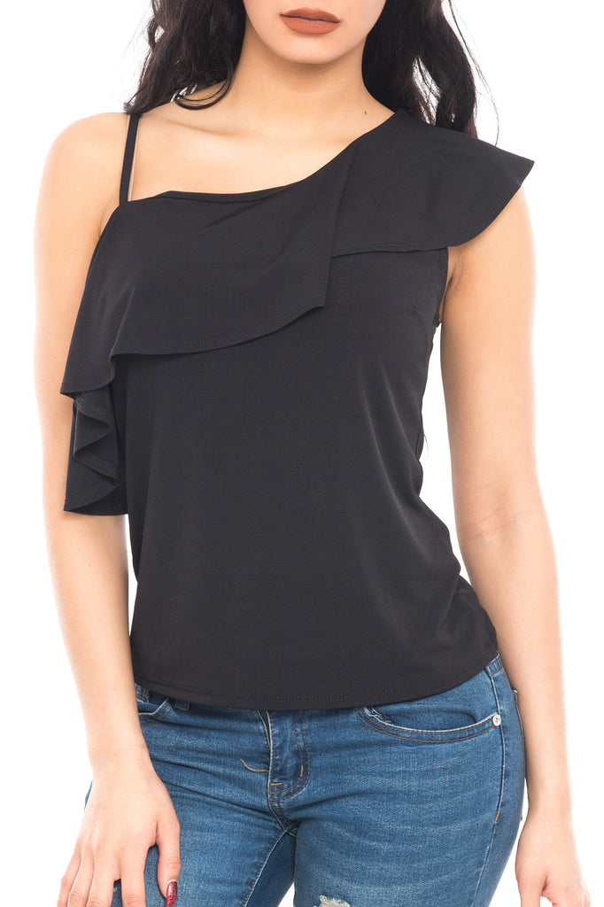 ONE SHOULDER RUFFLE TOP - SALE