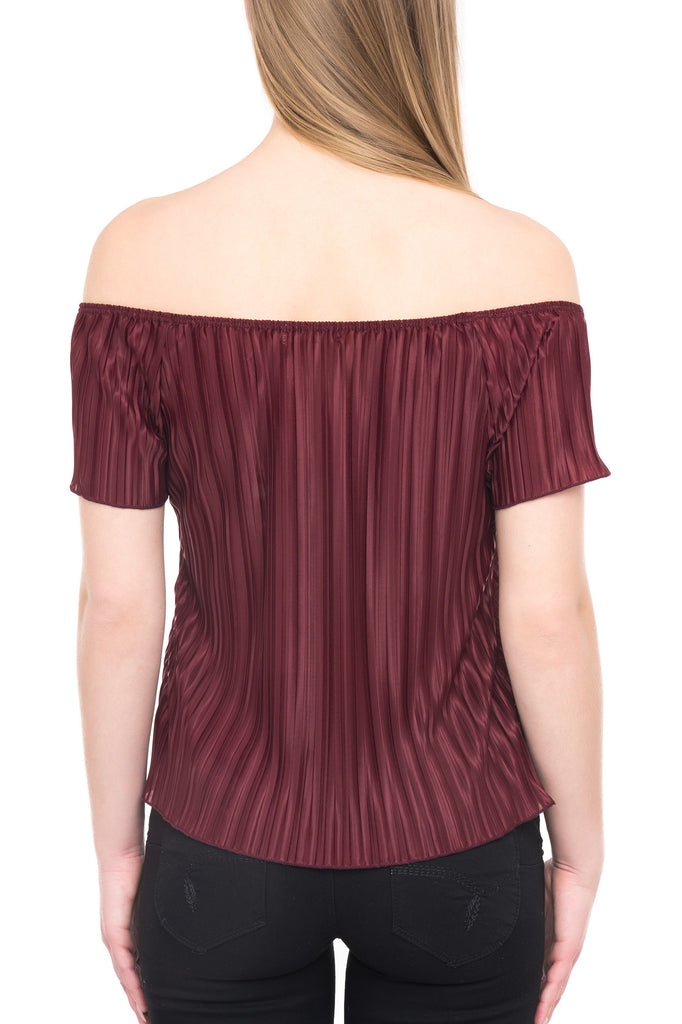 SHORT SLEEVE OFF THE SHOULDER PLEATED BLOUSE