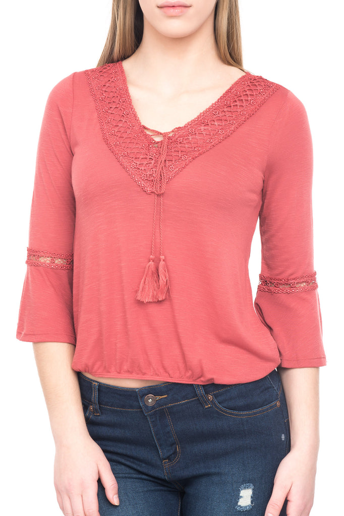 CROCHET TRIM BELL SLEEVE TOP