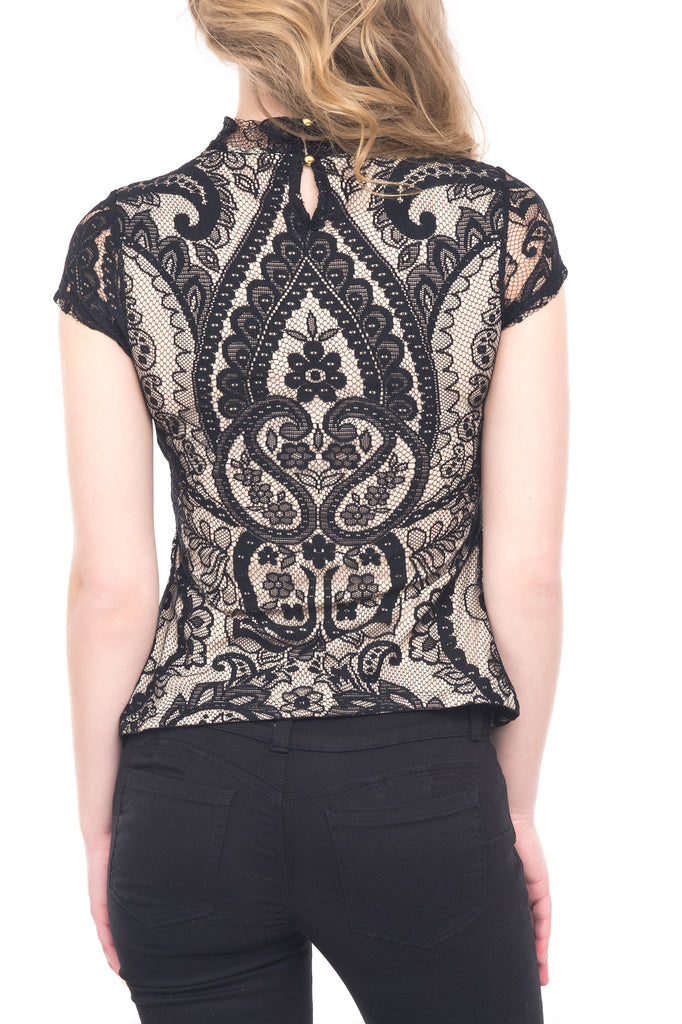 MOCK NECK LINED LACE TOP