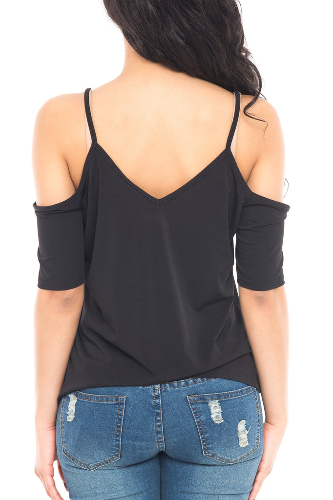COLD SHOULDER SHORT SLEEVE V-NECK TOP - SALE
