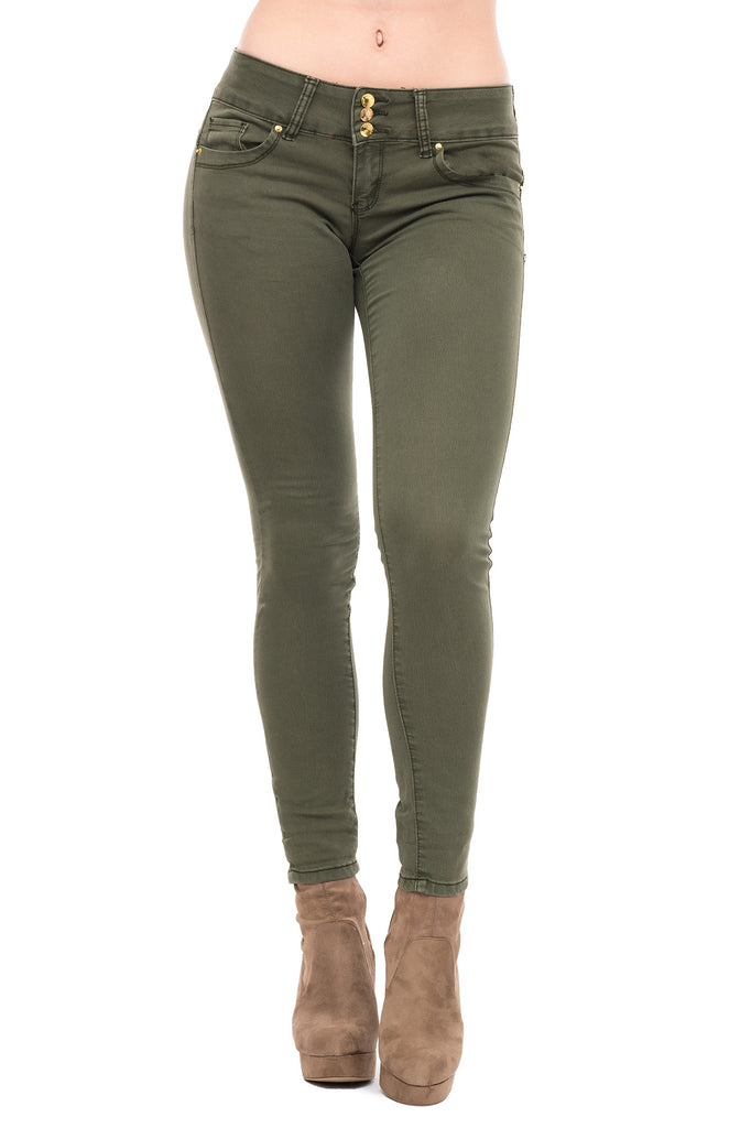 VIP BRAND TWILL 3 BUTTON SKINNY JEANS