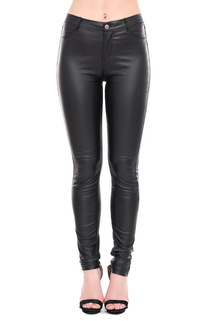 SHINESTAR COATED HIGH WAISTED SKINNY PANTS