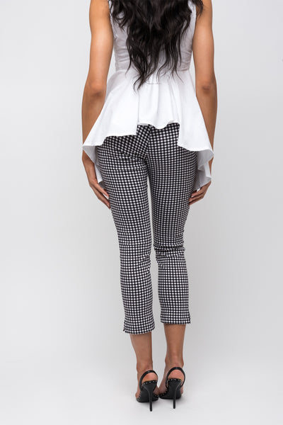 Gingham Pull On Ankle Pant