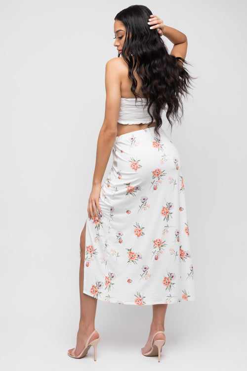 Rouched Drawstring Side Split Maxi Skirt