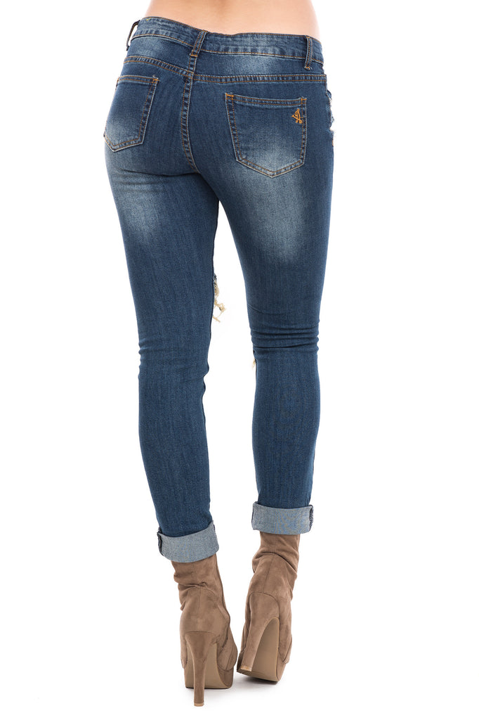 LOW RISE DESTROYED CUFFED SKINNY JEAN