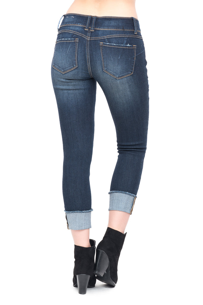 EVERMORE DISTRESSED LOW RISE SKINNY JEAN