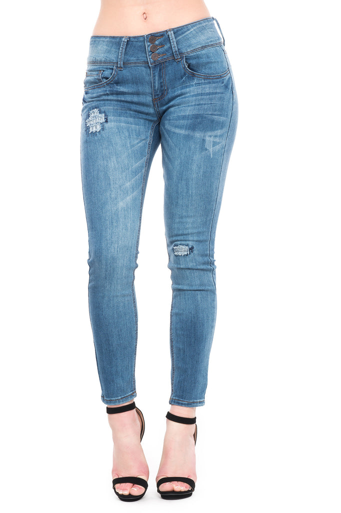 INDIGO REIGN LOW RISE DISTRESSED SKINNY JEAN