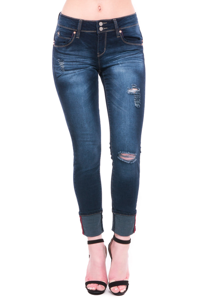 WANNA BETTA BUTT DISTRESSED CUFFED SKINNY JEAN