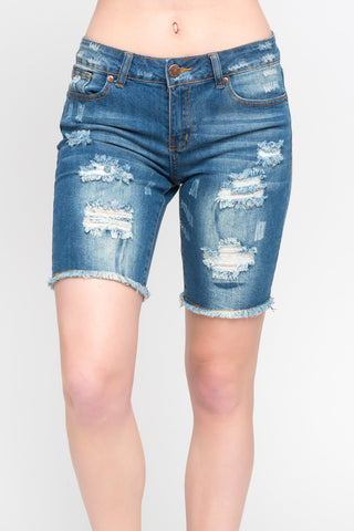 DISTRESSED DENIM SHORTALL