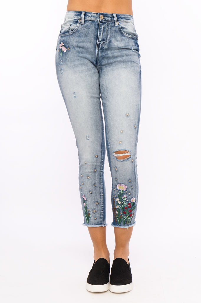 Distressed Floral Embroidered High Rise Ankle Jean