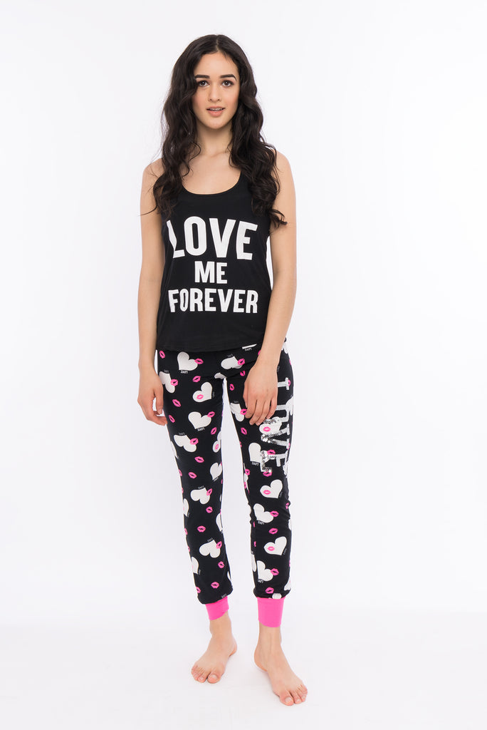 Love Me Forever Graphic Pajama Set