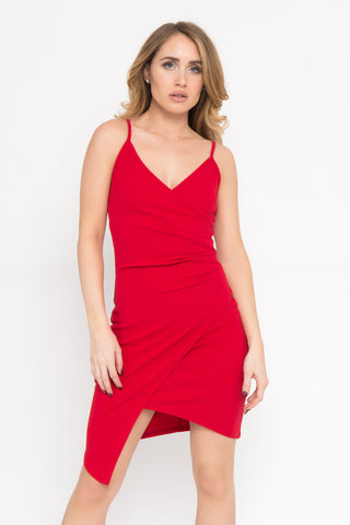 Faux Wrap Ruffle Dress