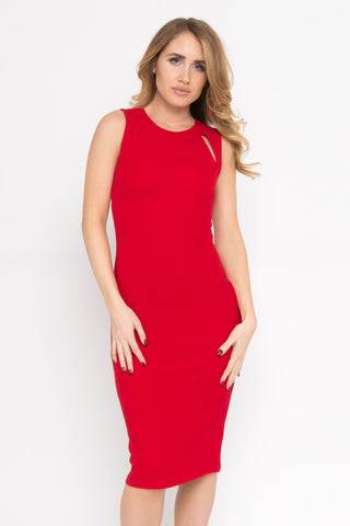 Ruffle V-Neck Adjustable Textured Midi Dress