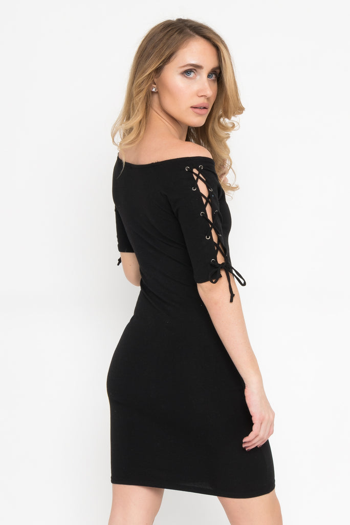Lace Up Sleeve Bodycon Dress