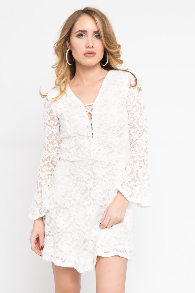 All Over Lace Ruffle Sleeve Skater Dress