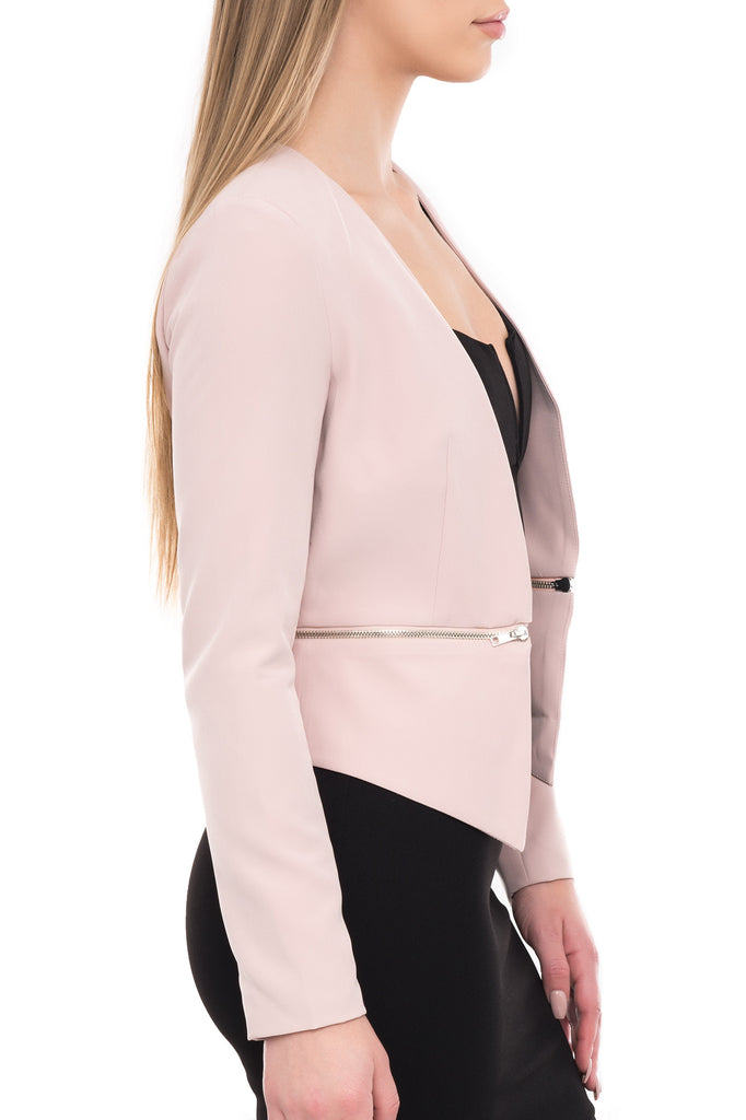 OPEN FRONT BLAZER WITH REMOVABLE ZIPPER BOTTOM