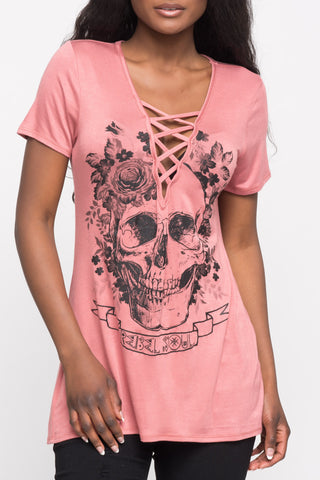 LIVE FREE GRAPHIC COLD SHOULDER TEE - SALE