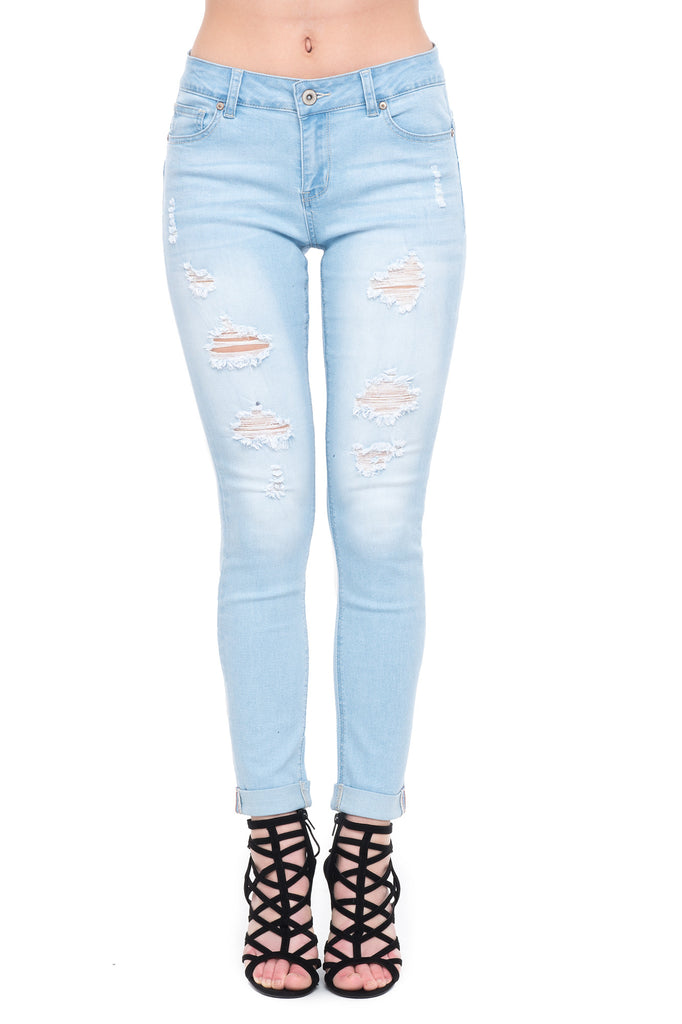 WAX BRAND SKINNY JEANS WITH RIPS