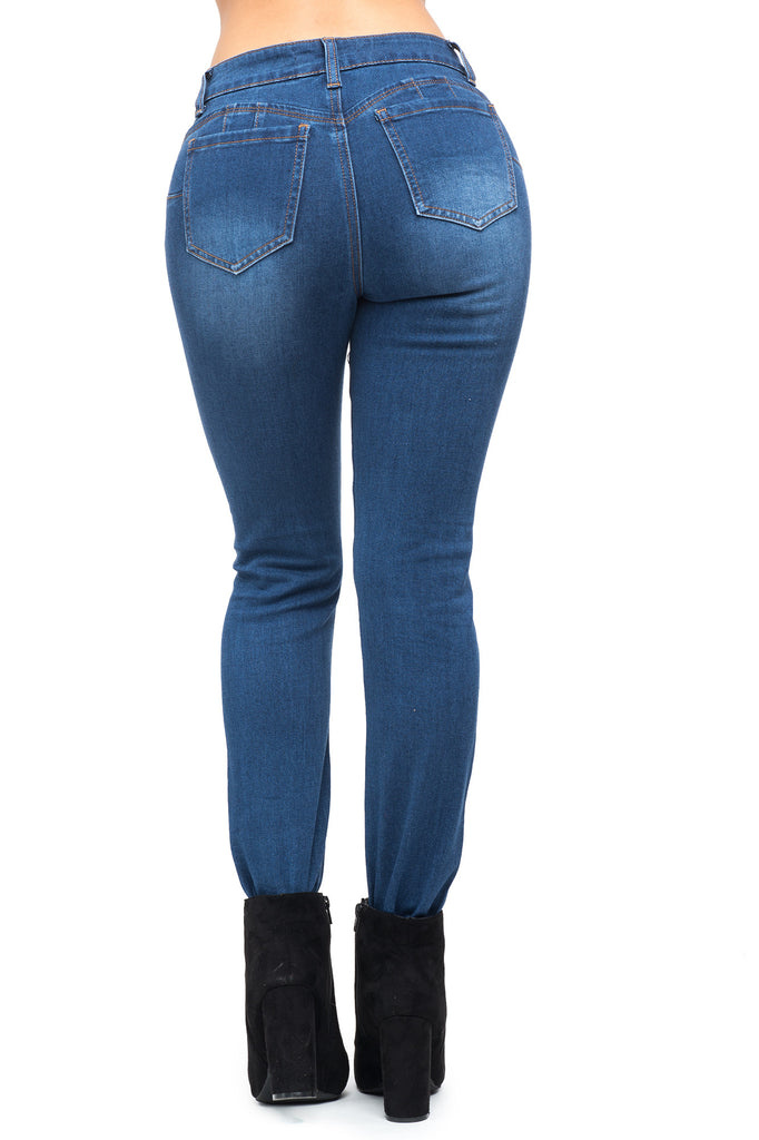 WAX BRAND BUTT LIFTING SKINNY JEANS WITH KNEE SLIT