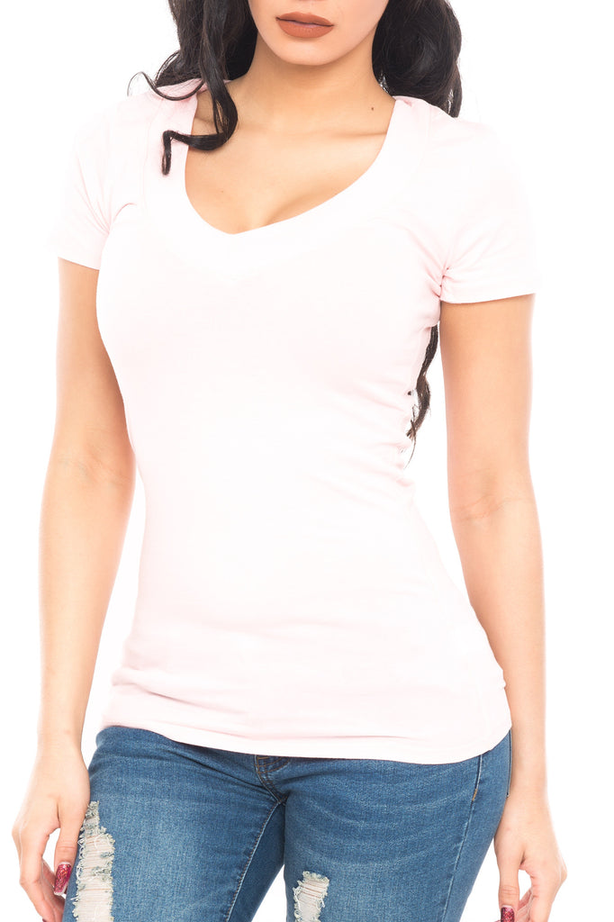 V-NECK COTTON SHORT SLEEVE TEE - PROMO