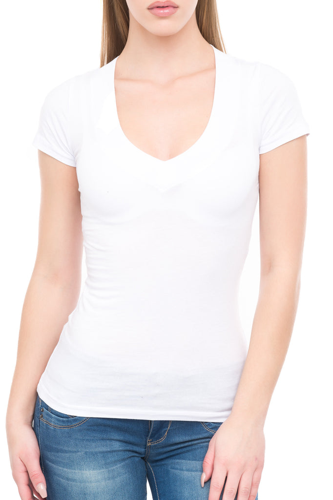 V-NECK COTTON SHORT SLEEVE TEE