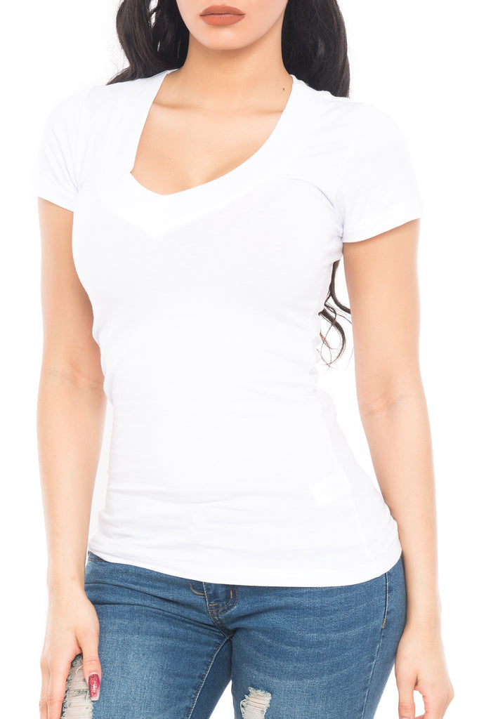 CAP SLEEVE WIDE V NECK TOP - PROMO