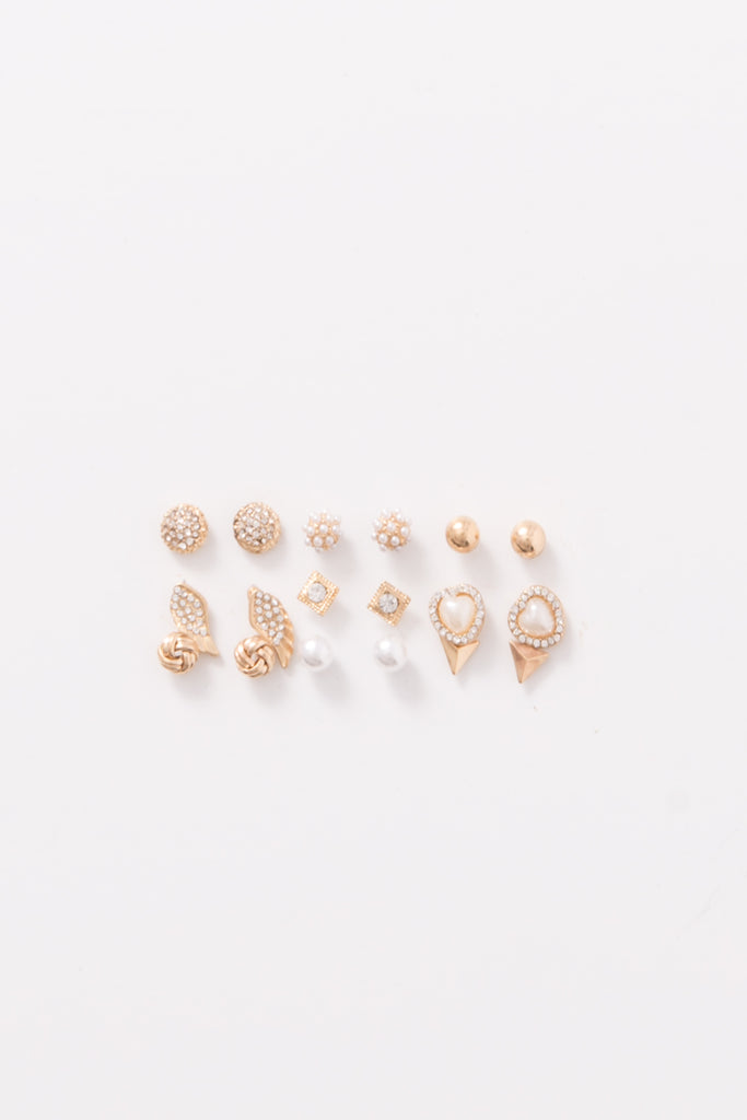 Assorted Embellished Stud Earring Set (9 Pieces)