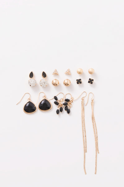 Black Gold Assorted Earring Set (9 Pieces)